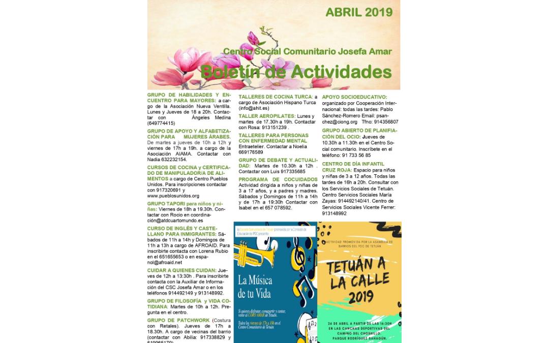 Boletín Actividades ABRIL 2019