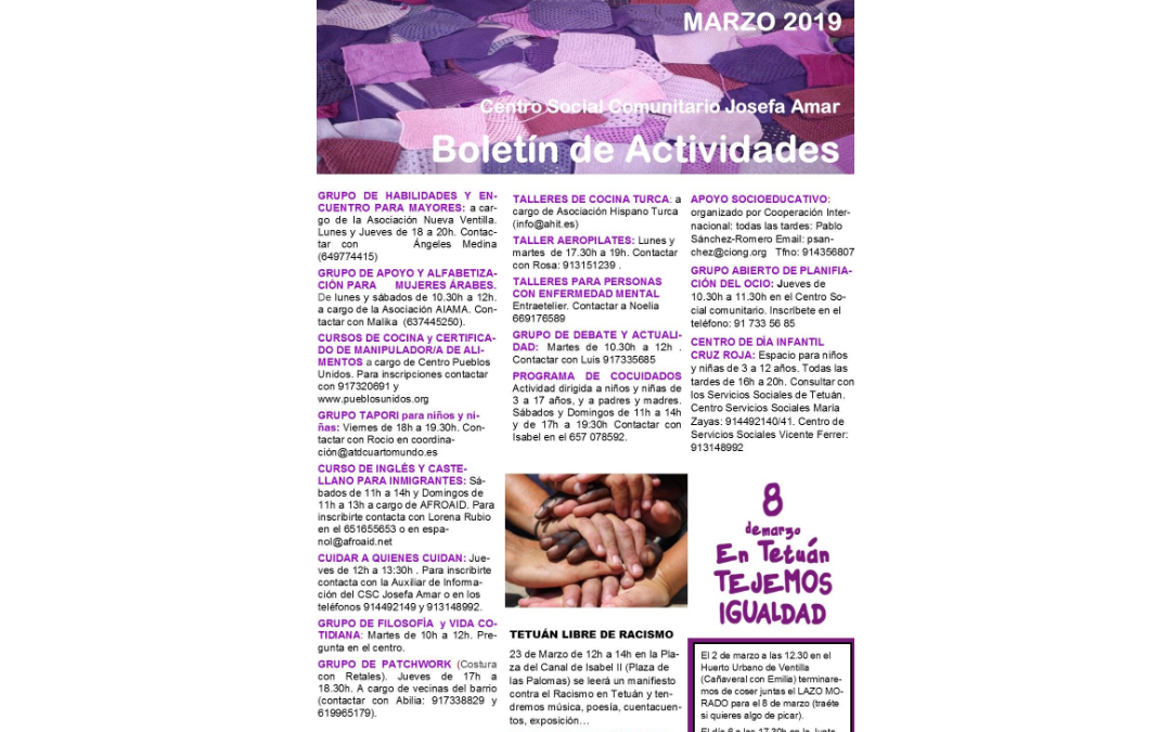 Boletín Actividades Marzo 2019