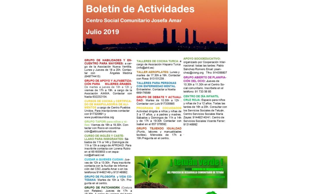 Boletín Actividades JULIO 2019